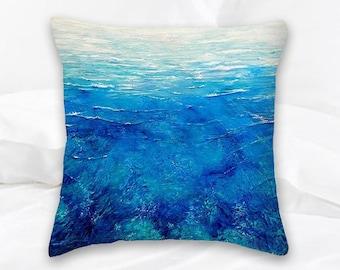 Blue Ocean Throw Pillow | Beach Decorative Pillow | Caribbean Sea | Ocean Decor | Surf Art | Surf Decor | Coral Art | Nautical Pillows | Sea