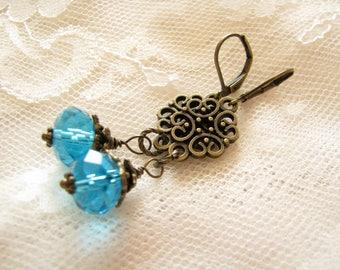 Blue earrings Victorian earrings Christmas earrings Elegant earrings Christmas gift for her Evening earrings