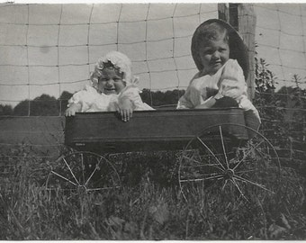 Old Photo Children in Wagon Wire Fence 1910s Photograph snapshot kids vintage