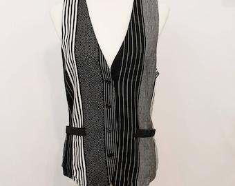 Vintage 80's Peirre Lamonte Black & White Button Down Vest -