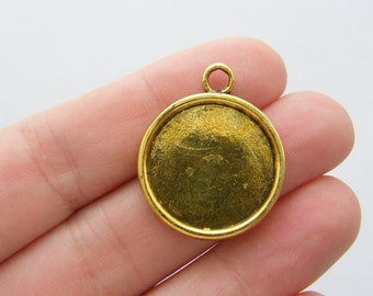 4 Cabochon frame 29 x 24mm antique gold tone fits 20mm FS228