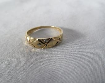 Minimalist Gold and Diamonds Wedding Band 10K Yellow Gold Ring 2 tiny Diamonds 10k YG Ring Band