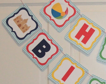 POOL PARTY Beach Party  Happy Birthday or Baby Shower Party Banner Red Blue