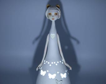 Bear, handmade art doll/lamp