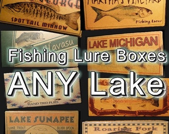 Fishing lake house decor cabin trout gift lure boxes ANY LAKE