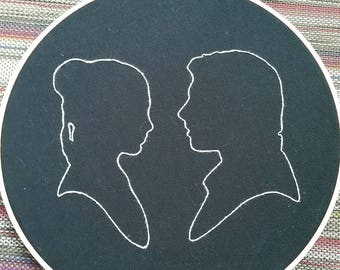 Han and Leia silhouette hoop art