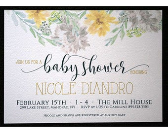 Wildflowers Watercolor Baby Shower - Neutral Baby Shower - Soft and Sweet Watercolor Shower Invitations