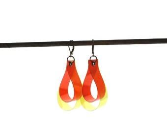 SALE 25% OFF! DROP earrings, color key,  yellow & orange, gifts for her, colorful jewelry, unique earrings, teardrop earrings, summery cool