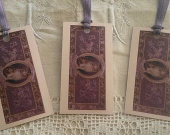 """Set of 3 vintage labels / gift tags / scrapbooking / pattern """"cat"""" of an old SOAP ad"""