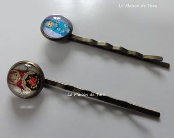 (Set of 2) - Russian dolls Cabochon Bobby pins