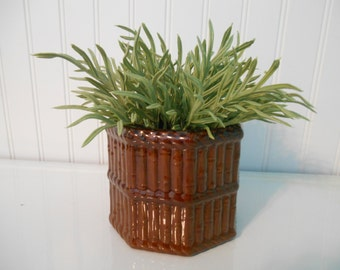 Bamboo planter, Ceramic vintage Mid Century plant decor, Glass container, Bamboo Asian tropical style, Natural, Boho, Tiki, Jungalow