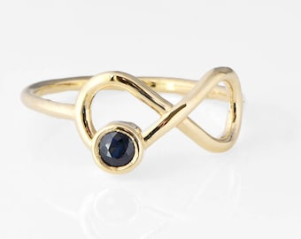 Sapphire Infinity Ring, Yellow Gold Ring, 10k Gold Jewelry, Infinity Sapphire Ring, Promise Ring, September Birthstone, Gift For Her