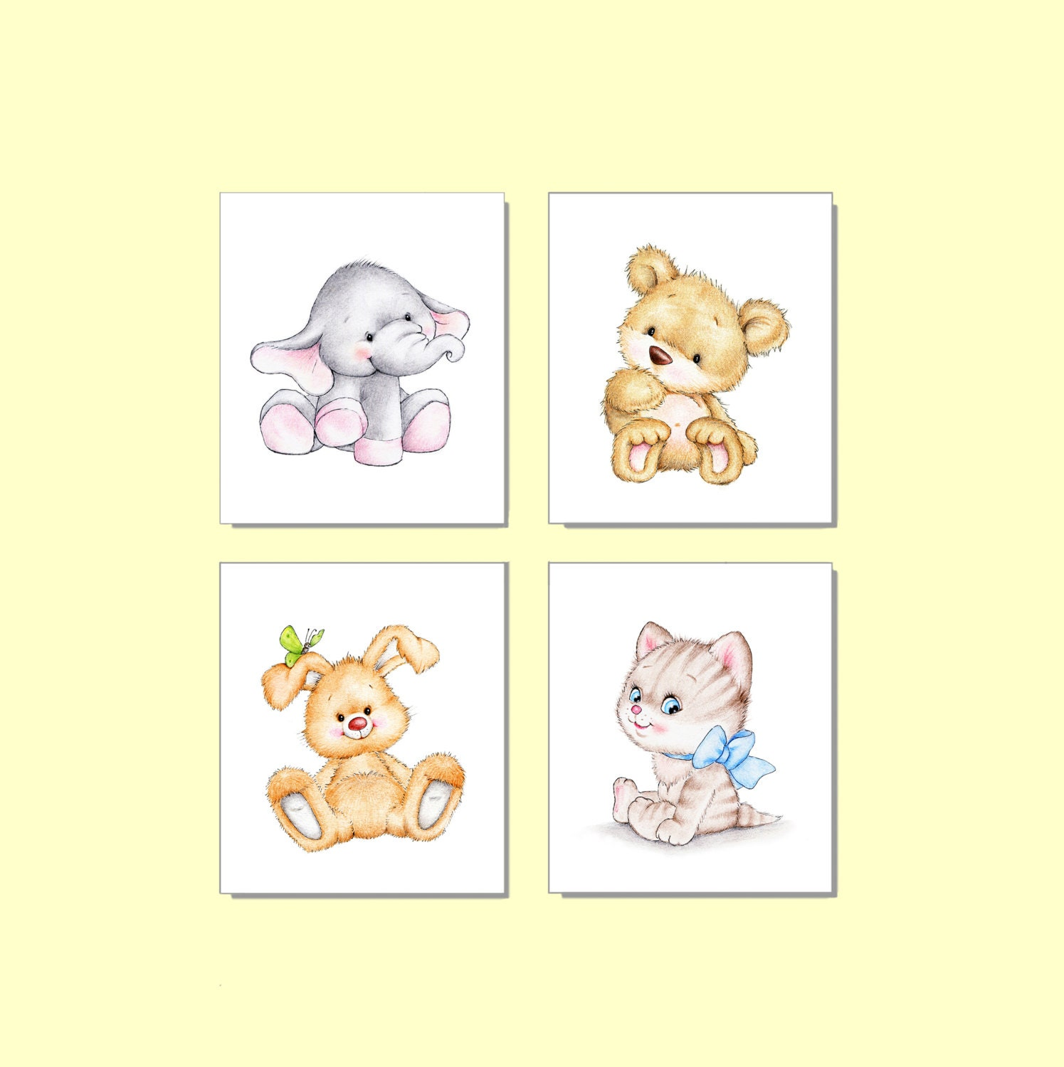 Bear Elephant Bunny Kitten Nursery Set Animal Nursery