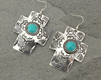 ASSORTED COLORS - Turquoise  Oversized Cross Earrings