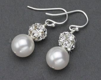 Pearl Wedding Earrings, Classic Pearl Drop Earrings, Wedding Jewelry for Brides, Pearl and Rhinestone Dangle Earrings