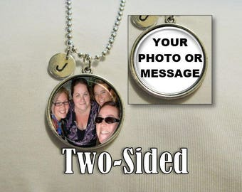 16mm TWO-SIDED Photo and Initial Pendant Necklace, Bridesmaid Necklace, Personalized Necklace, Charm Necklace, Monogram necklace