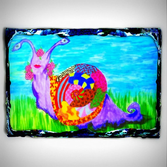 "Beautiful Archival Print, PAULA GRACE, a sassy Bohemian snail, printed on a 7.8 x 11.7"" Slate Panel"