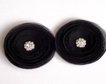 Black Chiffon Poppies Handmade Shoe Clips