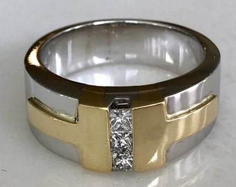 Stunning 14k Two Tone Channel Set Diamond Ring