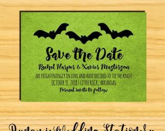 Trio of Bats Halloween Digital DIY Printable Save the Date Wedding Announcement