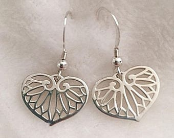 Sterling Silver Heart shaped Leaf Charm earrings