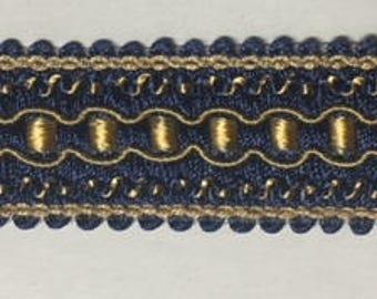 "1"" Navy Blue Gold Gimp Braid Fabric Upholstery Trim 12 Yards"
