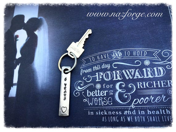 6th Year Iron Wedding Anniversary Keychain Gift Idea for Wife or Husband - 6 Years & Heart - Wedding Themes Sixth Hand Made forHim or Her