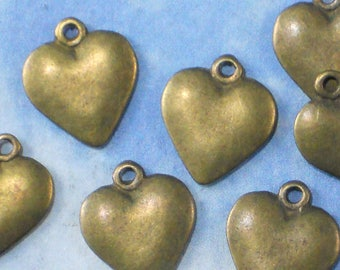 10 Heart Charms Bronze Tone 16mm 2 sided Jewelry thin profile for Invitations cards (P1171)