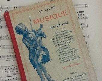 Antique Book, Sorbonne, Musical, Old Music Textbook, Paris Library, Vintage Hardback Illustrated Textbooks