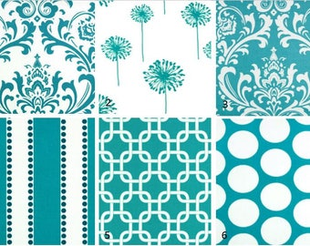 Turquoise Print Window Curtains- Pair Of 50 Inch Wide Drapery Panels-