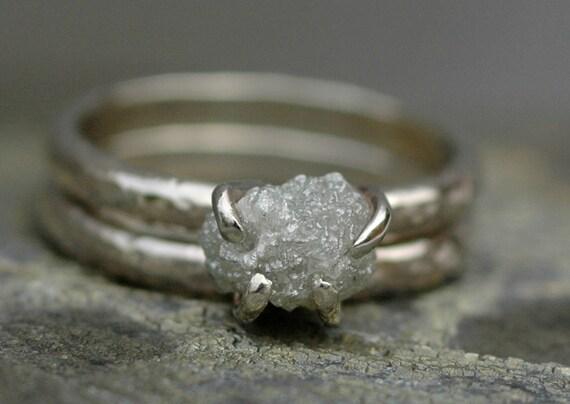 Prong-Set Rough Large Diamond Engagement Wedding Ring Set in 18k White or Yellow Gold