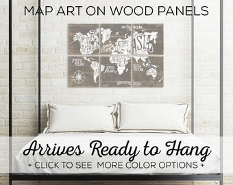 Extra Large Map - Vintage Worldmap - Large Wood Map - Rustic Wooden Map - Wall Art Vintage Map - World Map Canvas - Large World Map Canvas