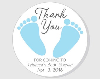 Baby Feet Thank You For Coming Baby Shower Stickers Blue Boy - 1.5 inch - 2 inch - 2.5 inch - 3 inch - favor - gift bag - envelope seal