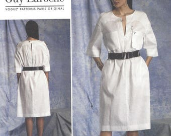 Guy Laroche Womens Pullover Dress with Front and Back Neckline Slit Vogue Sewing Pattern V1400 Size 16 18 20 22 24 Bust 38 40 42 44 46 FF