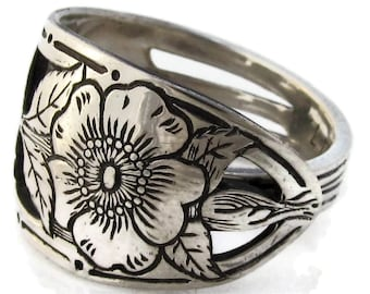 Sterling Silver Spoon Ring Watson Wild Rose Open Work
