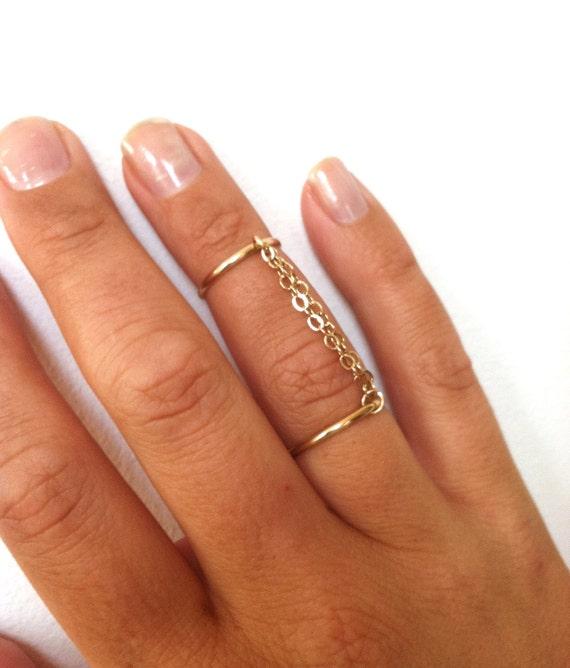 Handcuff Ring Double Chain Ring Double Band Ring Connected