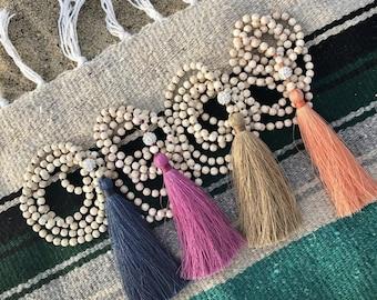 Mala necklace. Mala bead necklace. Mala beads. 108 mala necklace. mala bracelet. mala bead bracelet. 108 mala bracelet. tassel necklace.