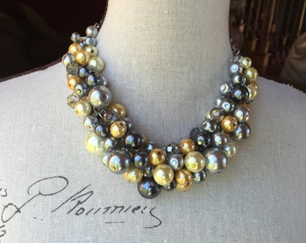 Pearl necklace in grays and yellows, bridesmaid necklace, chunky Pearl necklace,  wedding jewelry, cluster pearl necklace