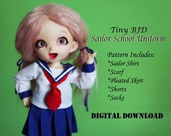 Sailor School Uniform Boy Girl Doll clothes outfit pattern for Tiny BJD: PukiFee Lati Yellow & similar sized dolls