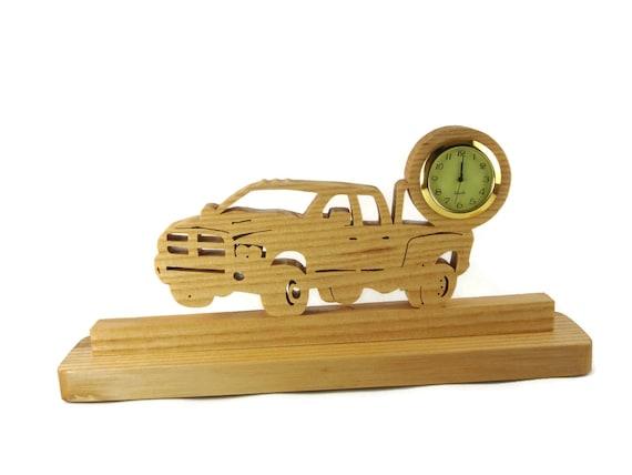 Dually Dodge Truck Desk Or Shelf Clock Handmade From Ash Wood By KevsKrafts