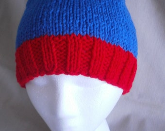 Infant sized Hand knit hat/Beanie - Blue & Red