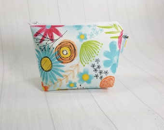 Believe You Can Florals Zipper Notions Pouch, Mini Zippered Wedge Bag, Craft Pouch NP0052