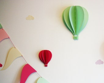 Hot air balloon 3 D wall - model average 19 cm high