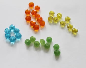 32 faceted beads: blue, green, orange and yellow