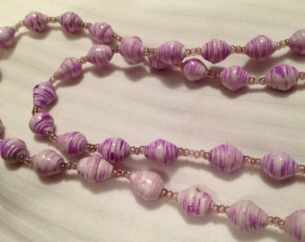 FREE SHIPPING - Handmade Bead Necklace - Style 6 - Purple/Red/Blue/Green/Black
