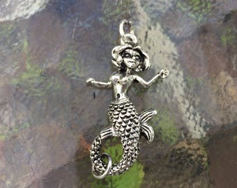Mermaid lobster clasp, (L04S), 1 3/4 x 3/4 inches, silver plated, double sides, Original design and copyrighted! New arrivals!