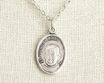 St Maximilian Kolbe Medal Necklace. Padre Kolbe Necklace. Catholic Necklace. Patron Saint Necklace. Saint Medal Necklace. Catholic Jewelry.