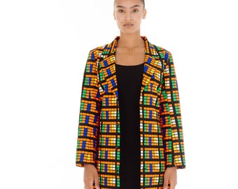 Tiwa Collar Neck Long Blazer
