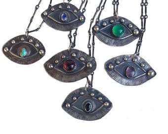 Evil Eye Amulet Necklace Sterling Silver, handmade talisman by Chase and Scout