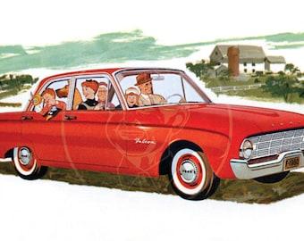1960 Ford Falcon Fordor Sedan - 10x16 Giclée Canvas Print of Vintage Advertising Postcard